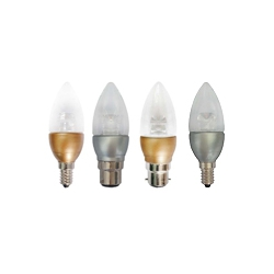 LED 35mm Brass and Silver Based Warm White Candles