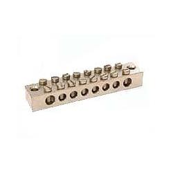 Metpro EB8 8 way Tinned Brass earth bar 2x25mm2 & 6x16mm2 ETTB8