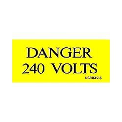 QLU LS803515 Yellow self adhesive label with  Danger 240volts