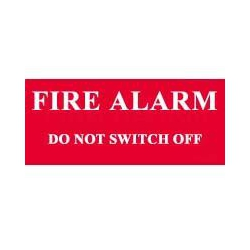 QLU LS803512 Red self adhesive label Fire Alarm Do Not Switch Off
