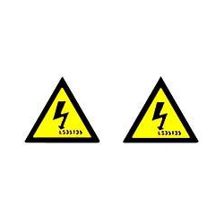 QLU LS35T35 2 x self adhesive yellow warning triangles 35x35mm