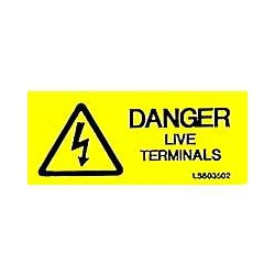 QLU LS803502 Yellow self adhesive label with - Danger Live Terminals