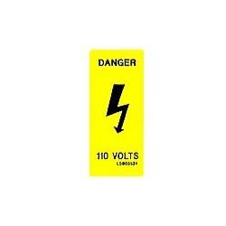 QLU LS803521 Yellow label with a Danger Flash 110volts vertical