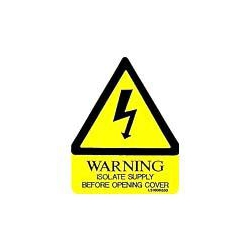 QLU LS1008030 yellow triangle Warning Isolate before Opening Cover