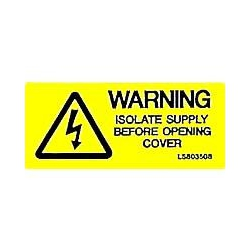 QLU LS803508 Label with Warning Isolate Supply Before Opening & Flash