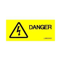 QLU LS803501 Yellow self adhesive label with  Danger and Flash