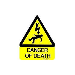 QLU LS1008029 yellow triangle 80x100mm Danger Of Death