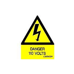 QLU LS605034 Yellow self adhesive triangle label Danger 110Volts
