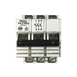 Wylex HB305 5 Amp Triple pole type 2 MCB
