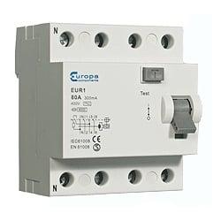 ECL EUR163.30/4 63amp 4 pole 30mA trip 10kA RCD 4 module