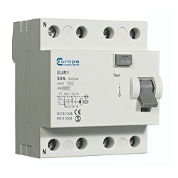 ECL EUR180.100/4 80 amp 4 pole 100mA trip 10kA RCD 4 module