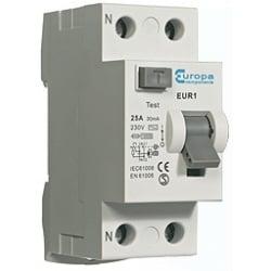 ECL EUR125.30/2 25 amp 2 Pole 30mA trip 10kA RCD 2 module