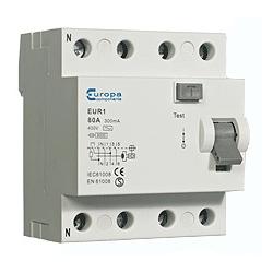 ECL EUR163.100/4 63amp 4 Pole 100mA trip 10kA RCD 4 module