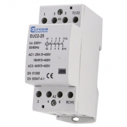 ECL EUC2-25-4P 25 Amp 4 Pole 230v 2 Module Contactor