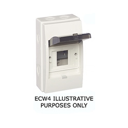 ECL ECW4 4 module IP65 MCB insulated distribution enclosure with lid