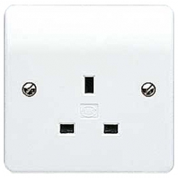 MK K780WHI 1 Gang 13 Amp Un-Switched white Socket Outlet