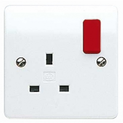 MK K2757D1WHI 1 Gang 13 Amp White DP Switched Socket with Red Rocker