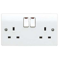 MK K2647WHI Logic Plus 2 Gang 13 Amp White Switched Socket with Neons