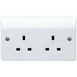 MK K781WHI 2 Gang 13 Amp Un-Switched white Socket Outlet