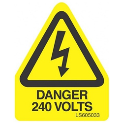 QLU LS605033 Yellow self adhesive triangle label Danger 240Volts