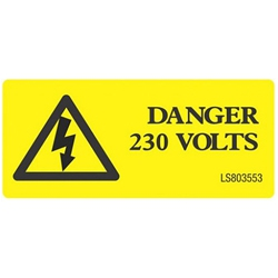 QLU LS803504 Yellow self adhesive label with Danger 240volts & Flash