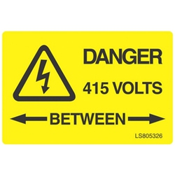 QLU LS803506 Yellow self adhesive label Danger 415volts Between