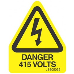 QLU LS605032 Yellow self adhesive triangle label Danger 415Volts