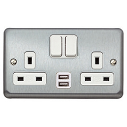 MK K2944BRC 2g 13amp + 2 x USB (2a 5v) Switched Socket Brushed Chrome