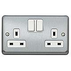 MK K2948BRC 2 Gang 13 Amp DP Switch Socket Brushed Chrome