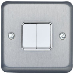 MK K4672BRC 2gang 10amp 2way SP Light Switch Brushed Chrome Plate