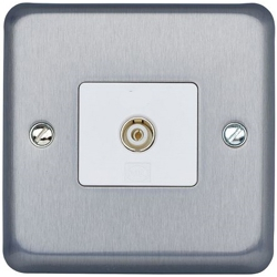 MK K3580BRC Single Non-Isolated TV/FM Coaxial Socket Brushed Chrome