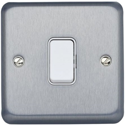 MK K4671BRC 1gang 10amp 2way SP Light Switch Brushed Chrome Plate