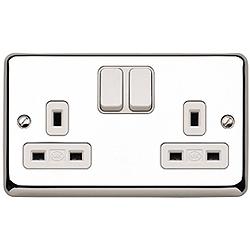 MK K2948PCR 2 Gang 13 Amp DP Switch Socket Polished Chrome