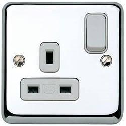 MK K2958PCR 1 Gang 13 Amp DP Switch Socket Polished Chrome