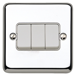 MK K4673PCR 3gang 10amp 2way SP Light Switch Polished Chrome Plate