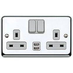 MK K2944PCR 2g 13amp + 2 x USB (2a 5v) Switched Socket Polished Chrome