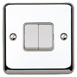 MK K4672PCR 2gang 10amp 2way SP Light Switch Polished Chrome Plate