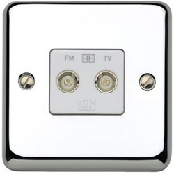 MK K3582MCO Twin Isolated TV/FM Coaxial Socket Matt Chrome