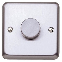 MK K1551BSS 1g 2w 60-500w Tungsten only Dimmer Brushed Stainless Steel