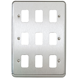 MK K3439BSS 9 Gang Brushed Stainless Steel Albany Plus Grid Plate