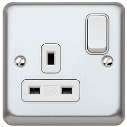 MK K2958BSS 1 Gang 13 Amp DP Switch Socket Brushed Stainless Steel