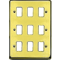 MK K3439SAB 9 Gang Satin Anodised Brass Albany Plus Grid Front Plate