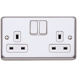 MK K2948BSS 2 Gang 13 Amp DP Switch Socket Brushed Stainless Steel