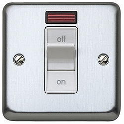 MK K5106BSS 32a DP Switch with Neon Brushed Stainless Steel