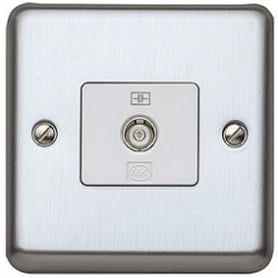 MK K3581BSS 1g Isolated TV/FM Coaxial Socket Brushed Stainless Steel