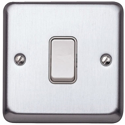 MK K4671BSS 1gang 10amp 2way SP Light Switch Brushed Stainless Steel