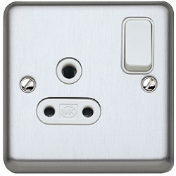 MK K2881BSS 1 Gang 5 Amp DP Switch Socket Brushed Stainless Steel