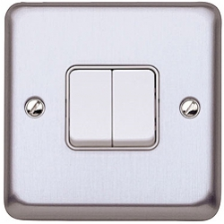 MK K4672BSS 2gang 10amp 2way SP Light Switch Brushed Stainless Steel