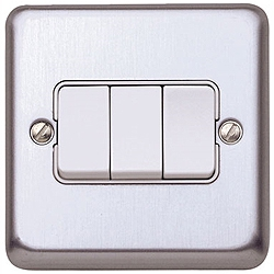 MK K4673BSS 3gang 10amp 2way SP Light Switch Brushed Stainless Steel