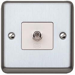 MK K3585BSS 1g 'F' Type Satellite TV Outlet Brushed Stainless Steel